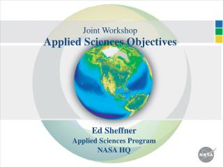 Joint Workshop Applied Sciences Objectives