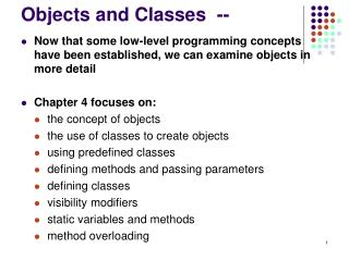 Objects and Classes  --
