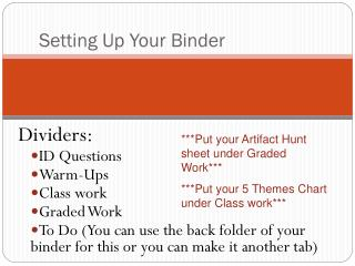 Setting Up Your Binder