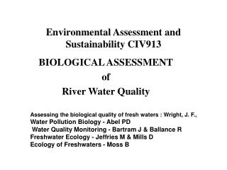 Environmental Assessment and Sustainability CIV913