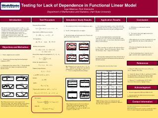 Testing for Lack of Dependence in Functional Linear Model Inga Maslova, Piotr Kokoszka