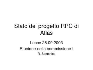 Stato del progetto RPC di Atlas