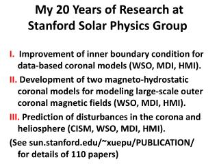 My 20 Years of Research at  Stanford Solar Physics Group