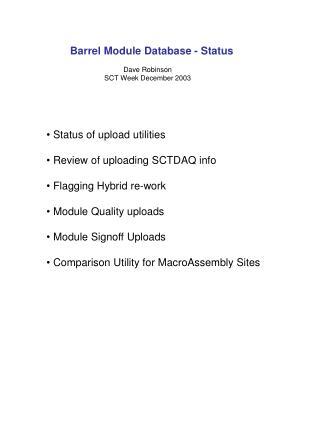 Barrel Module Database - Status