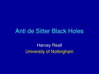 Anti de Sitter Black Holes