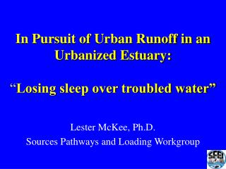 "In Pursuit of Urban Runoff in an Urbanized Estuary: "" Losing sleep over troubled water"""