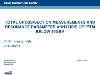 TOTAL CROSS-SECTION MEASUREMENTS AND RESONANCE PARAMETER ANNYLISIS OF  169 TM BELOW 100 EV