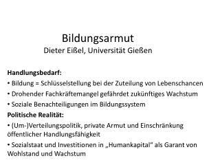 Bildungsarmut Dieter  Eißel , Universität Gießen