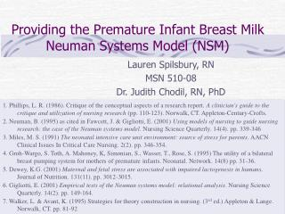 Providing the Premature Infant Breast Milk  Neuman Systems Model (NSM)