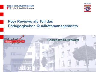 Peer Reviews als Teil des  Pädagogischen Qualitätsmanagements