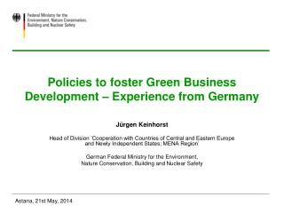 Policies to foster Green Business Development – Experience from Germany