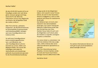 Für weitere Informationen können sie mich gerne auch privat kontaktieren: davideth@t-online.de