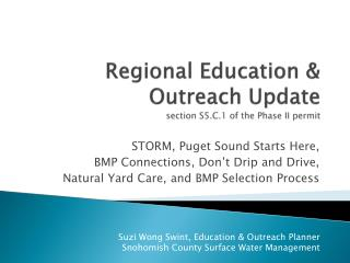 Regional Education & Outreach Update section S5.C.1 of the Phase II permit