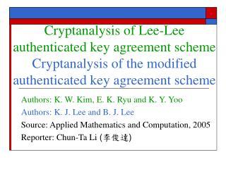 Authors: K. W. Kim, E. K. Ryu and K. Y. Yoo Authors: K. J. Lee and B. J. Lee