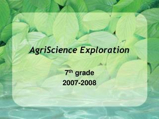 AgriScience Exploration