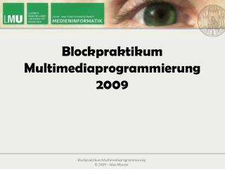 Blockpraktikum Multimediaprogrammierung 2009