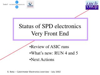 Status of SPD electronics Very Front End