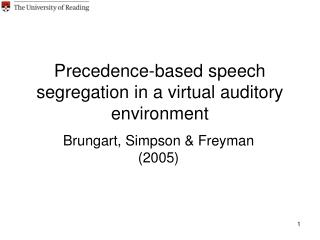 Precedence-based speech segregation in a virtual auditory environment