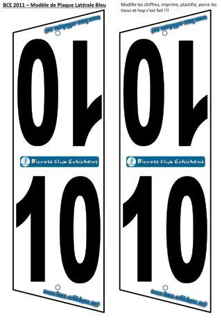 BCE 2011 – Modèle de Plaque Latérale Bleu
