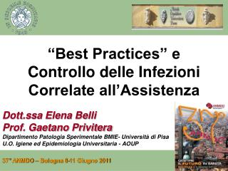 """Best Practices"" e Controllo delle Infezioni Correlate all'Assistenza"