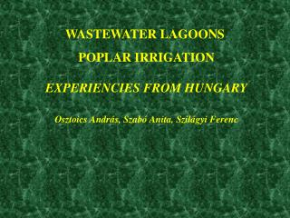 WASTEWATER LAGOONS  POPLAR IRRIGATION EXPERIENCIES FROM HUNGARY