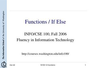 Functions / If Else