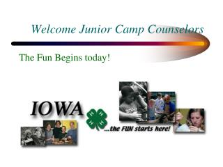 Welcome Junior Camp Counselors