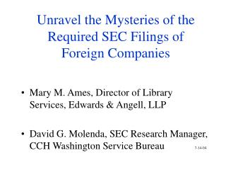 Unravel the Mysteries of the Required SEC Filings of Foreign Companies