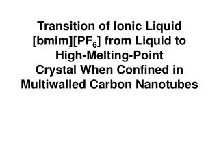 Physical Properties of the Ionic Liquids