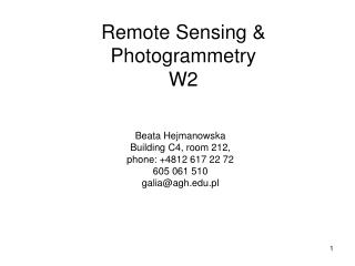 Remote Sensing & Photogrammetry W2