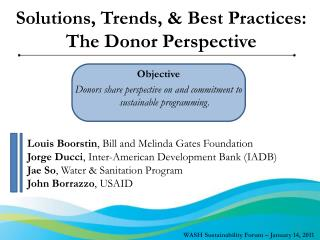 Solutions, Trends, & Best Practices:  The Donor Perspective