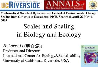 Scales and Scaling in Biology and Ecology