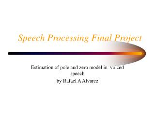 Speech Processing Final Project