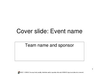 Cover slide: Event name