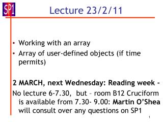 Lecture 23/2/11