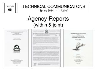 Agency Reports (within & joint)