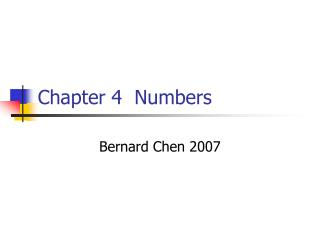 Chapter 4  Numbers