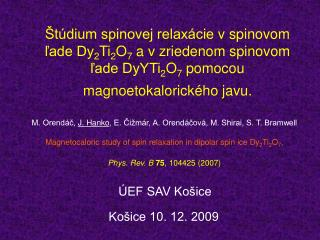 Košice 10. 12. 2009