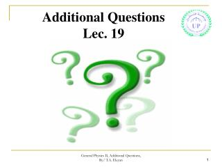 Additional Questions Lec. 19