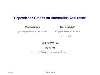 Dependence Graphs for Information Assurance