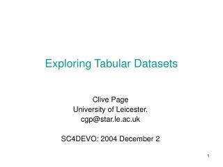 Exploring Tabular Datasets
