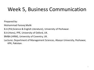 Week 5, Business Communication