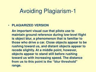 Avoiding Plagiarism-1