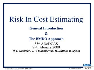Risk In Cost Estimating