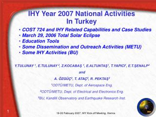 IHY Year 2007 National Activities In Turkey