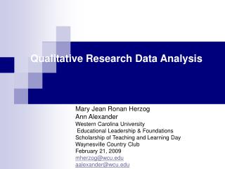 Qualitative Research Data Analysis