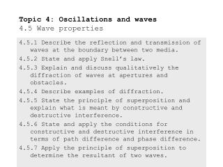 Topic 4: Oscillations and waves 4.5 Wave properties
