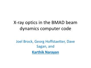 X-ray optics in the BMAD beam dynamics computer code