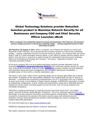 Global Technology Solutions provider Netswitch launches prod