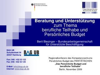 Regionalkonferenz des Kompetenzzentrums  Persönliches Budget des PARITÄTISCHEN